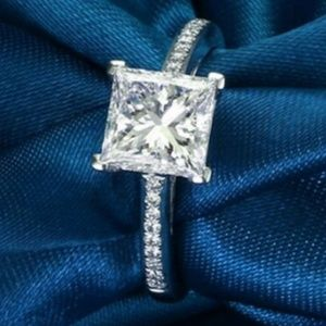 Simulated CZ Wedding Engagement Ring SZ 6